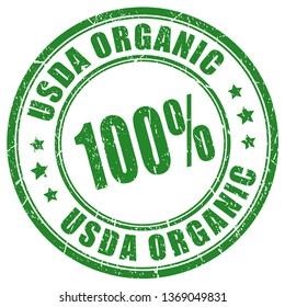 Usda organic imprint isolated on white background