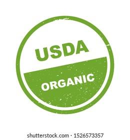 USDA organic shield sign on white background