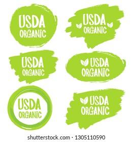 USDA organic shield sign. Stamp. Sticker