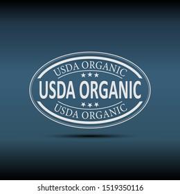 USDA Organic Web Label Badge Emblem on a blue Background