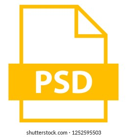 Use it in all your designs. Filename extension icon PSD PhotoShop Document in flat style. Quick and easy recolorable shape. Vector illustration a graphic element.