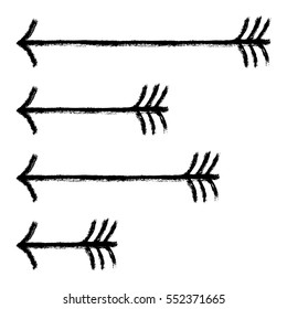 Use it in all your designs. Illustration of flying arrows for the bow drawn by a paint brush stroke. Quick and easy recolorable shape. Vector illustration a graphic element.