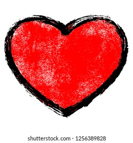 Use it in all your designs. Red heart symbol with black contour and texture created in handmade watercolor technique. Quick and easy recolorable shape. Vector illustration a graphic element