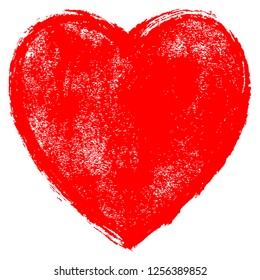 Use it in all your designs. Red heart symbol created with texture in handmade watercolor technique. Quick and easy recolorable graphic element in technique vector illustration