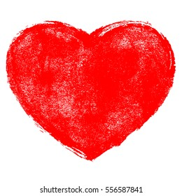 Use it in all your designs. Red heart symbol created with texture in handmade watercolor technique. Quick and easy recolorable shape. Vector illustration a graphic element