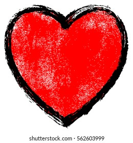 Use it in all your designs. Red heart sign with black contour and texture created in handmade watercolor technique. Quick and easy recolorable graphic element in technique vector illustration