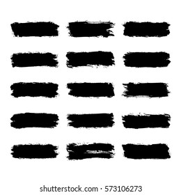Use it in all your designs. Set of fifteen brushstroke black paint created in sketch drawing handmade technique. Quick and easy recolorable vector illustration graphic element