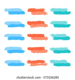 Use it in all your designs. Set of fifteen brushstrokes tint paint created in sketch drawing handmade technique. Quick and easy recolorable vector illustration graphic element