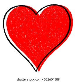 Use it in all your designs. Sketch drawing red heart sign with black line contour. Quick and easy recolorable shape. Vector illustration a graphic element