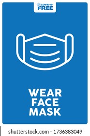 Use face mask. Covid-19 free zone poster. Signs for shops, stores, hairdressers, establishments, bars, restaurants ...