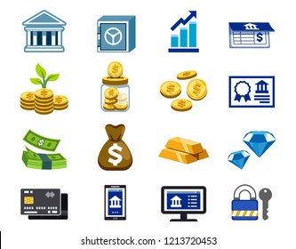 Use of general banking service(icon concept). Financial Transactions, Deposit and keep a treasure with bank.