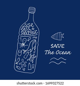Use Less Plastic ans Save Ocean, Concept Art. Marine Life in the bottle. Vector illustration
