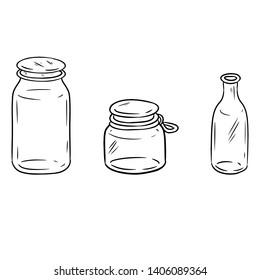 Use less plastic glass jars. Ecological and zero-waste bottles doodle image. Go green