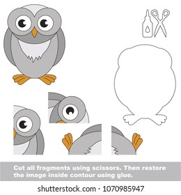 Use scissors and glue and restore the picture inside the contour. Easy educational paper game for kids. Simple kid application with Owl Bird