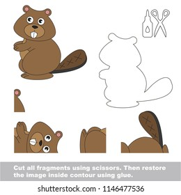 Use scissors and glue and restore the picture inside the contour. Easy educational paper game for kids. Simple kid application with Beavere