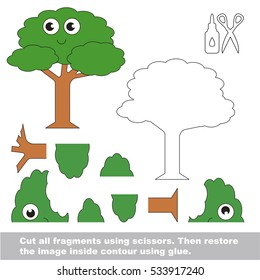 Use scissors and glue and restore the picture inside the contour. Easy educational paper game for kids. Simple kid application with Funny Tree.