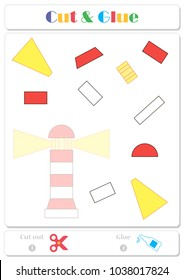 Use scissors and glue and sticker picture for sample. Easy educational paper game for kids. Cartoon red and white lighthouse with yellow lights