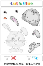 Use scissors and glue and sticker picture for sample. Easy educational paper game for kids. Funny hare