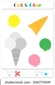 Use scissors and glue and sticker picture for sample. Easy educational paper game for kids. Colorful balls of ice cream in a waffle horn