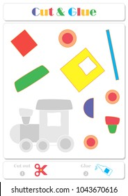 Use scissors and glue and sticker picture for sample. Easy educational paper game for kids. Colorful train