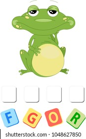 Use scissors and glue and sticker picture for sample. Easy educational paper game for kids. Funny frog