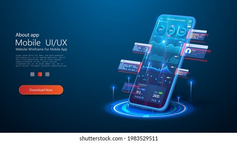 Use a smartphone with business graph and analytical data on futuristic isometric mobile phone. Bright, colorful, neon graphics and data. Data analytics for marketing solutions or financial performance
