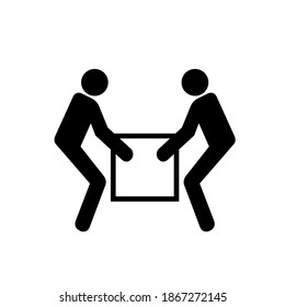 Use Two Person Lift Black Icon, Vector Illustration, Isolate On White Background Label. EPS10