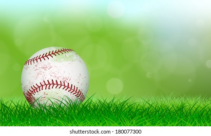 Used baseball sitting on lush grass in front of a soft background