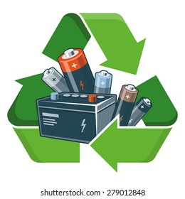 Used batteries with green recycling symbol in cartoon style. Isolated vector illustration on white background. Waste Electrical and Electronic Equipment - WEEE concept.