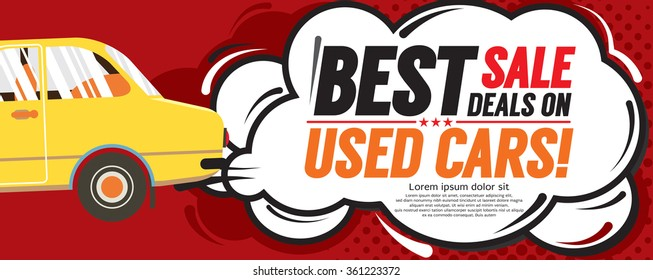 Used Car Best Sale Deal 6250x2500 pixel Banner Vector Illustration