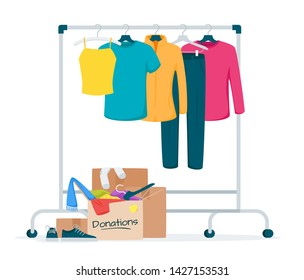 Used clothes donation flat vector illustration. Cheap and free garment. Second hand shop, flea market goods. Trousers, jackets hanging on rack. Men, women wear thrift store. Box with belongings