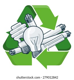 Used light bulbs with green recycling symbol in cartoon style. Isolated vector illustration on white background. Waste Electrical and Electronic Equipment - WEEE concept.