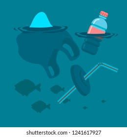 Used plastic bag, bottle and soft drink container straw floating on a calm ocean with fish polluting the aquatic environment. Vector flat illustration.