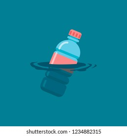 Used plastic bottle floating on a calm ocean polluting the aquatic environment. Vector flat illustration.