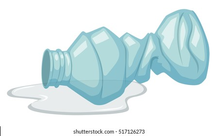 Used plastic bottle on white background illustration