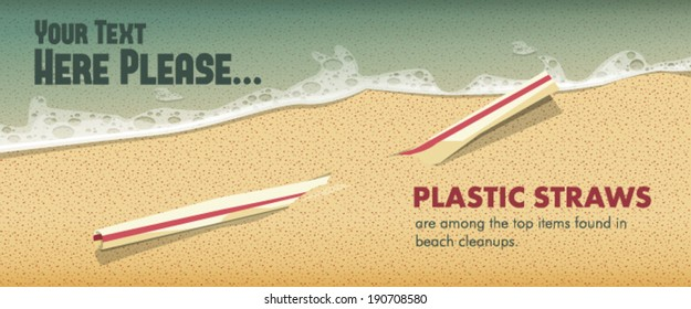 Used plastic drinking straw on the sea shore.