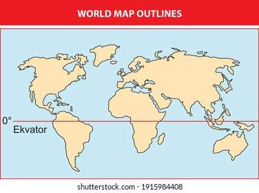 Useful and changeable world map drawn in outline used in geography lesson