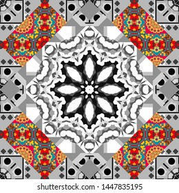 Useful as design element for texture and artistic compositions. Mandalas kaleidoscope seamless pattern. Composed of brown, pink and gray abstract elements. Vector illustration.