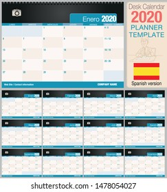 Useful desk calendar 2020 with space to place a photo. Size: 210 mm x 148 mm. Spanish version - Vector image