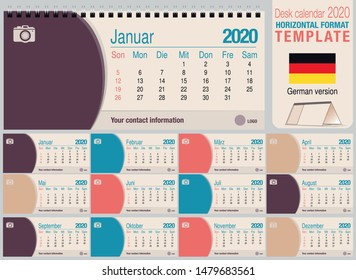 Useful desk triangle calendar 2020 template, with space to place a photo. Size: 22 cm x 10 cm. Format horizontal - German version. Vector image