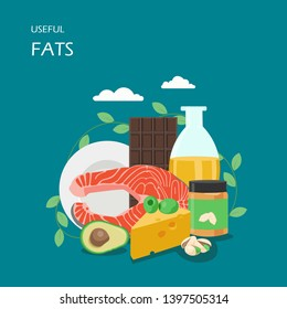 Useful fats vector flat style design illustration. Avocado, olives, vegetable oil, salmon, cheese, pistachio, dark chocolate and peanut butter. Foods with healthy fats for web banner website page etc.