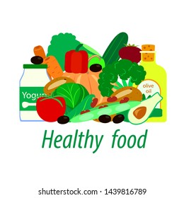 useful food vector set. vitamins and diet for a healthy lifestyle. illustration on white background