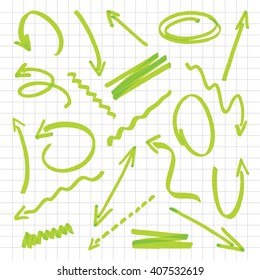 Useful graphic elements for presentations. Isolated Vector Graphics. Collection of hand-drawn green color arrows on a white background. Vector outline illustration.