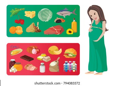 Useful and harmful foods during pregnancy. For your convenience, each significant element is in a separate layer. Eps 10