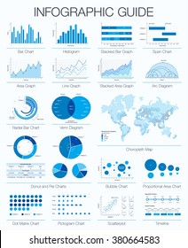 Useful infographic guide. Set of graphic design elements: histogram, arc and venn diagram, timeline, radial bar, bubble, span, dot matrix, donut, pie charts, area, line graph, choropleth map. Vector