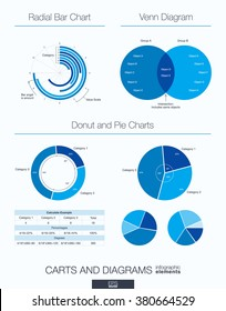 Useful infographic template. Set of graphic design elements: venn diagram, radial bar, donut and pie charts. Vector illustration.