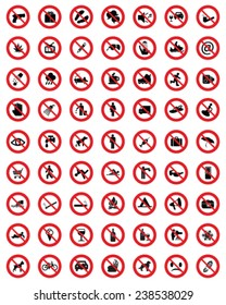 Useful and unusual red signs of prohibited 2, vector