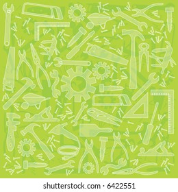 Useful work tool lime green background; Multiple work tools outlined; no transparency used; easy-edit color change.