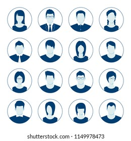 User account avatar. User portrait  icon set. Businessman portrait silhouette. Default Avatar Profile Icon Set. Man and Woman User Image. Vector illustration