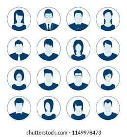 User account avatar. User portrait  icon set. Businessman portrait silhouette. Default Avatar Profile Icon Set. Man and Woman User Image. Vector illustration